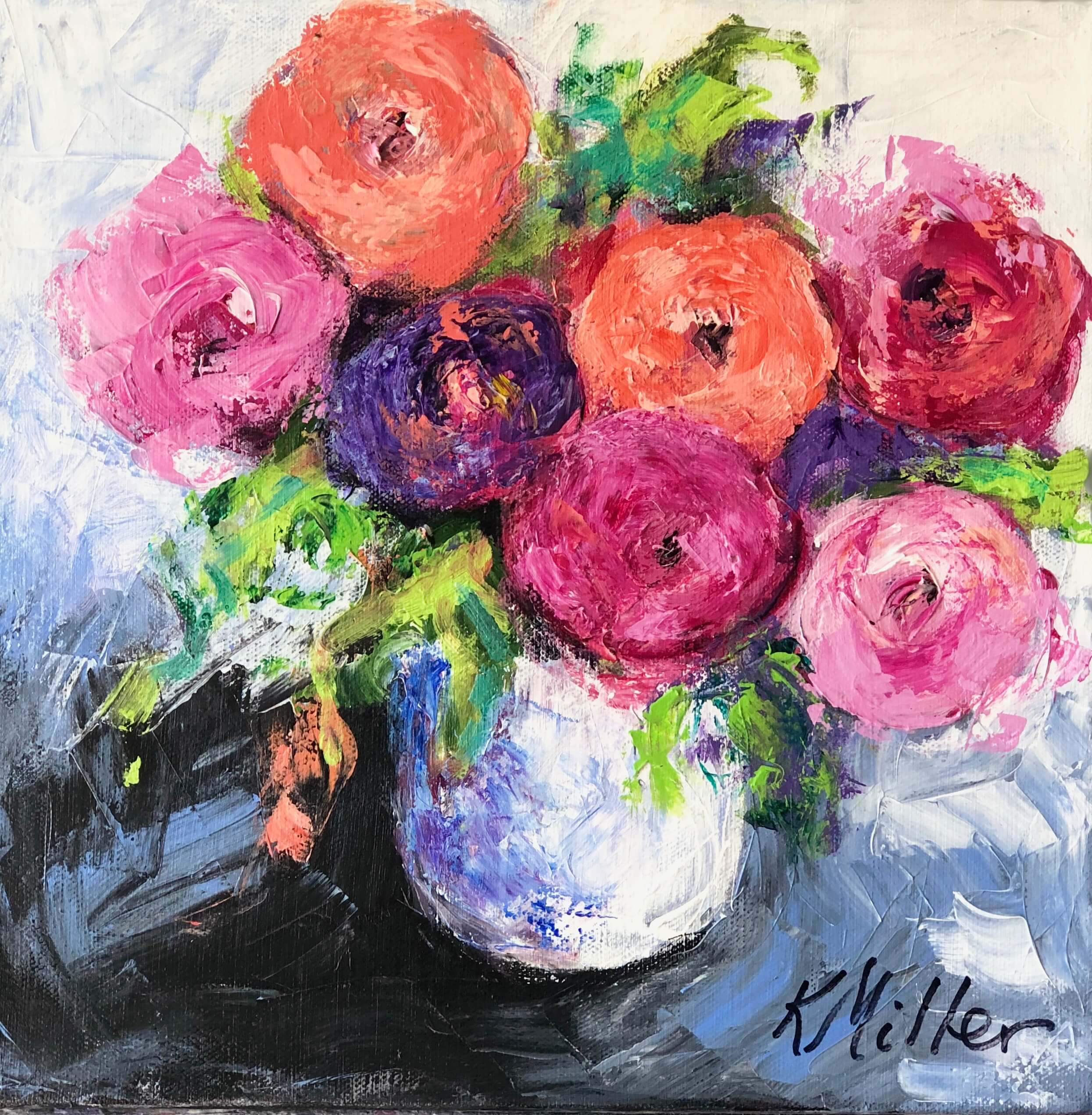 Fun Flowers on Black inspired by a Pink Ranunculus Floral Arrangement by Kate Schelter painting by Kathy Miller