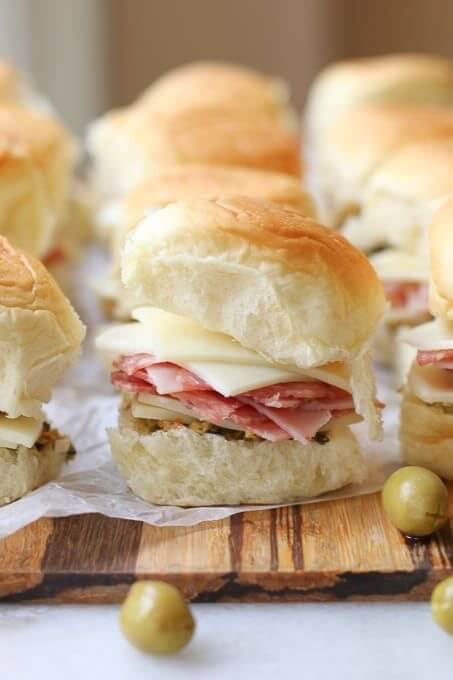 Muffuletta sliders with olive spread photo by aforkstale