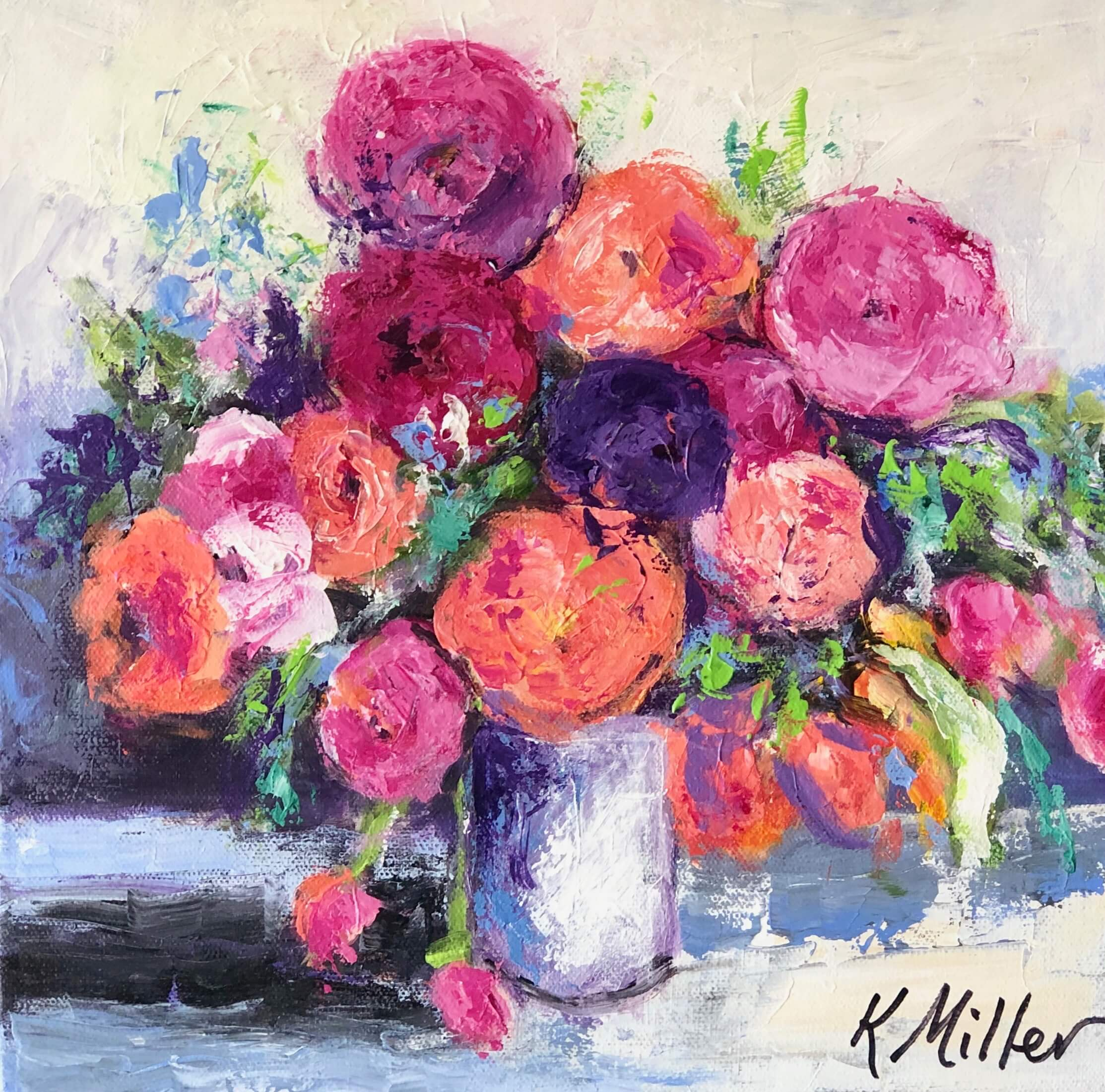 Peonies and Ranunculus painting by Kathy Miller inspired by Lewis Miller floral arrangement