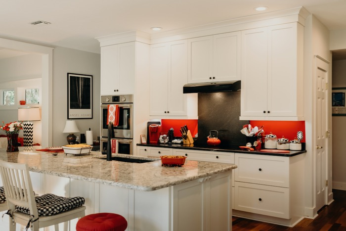 Lib Schuler kitchen with with and black photo by Page Tehan