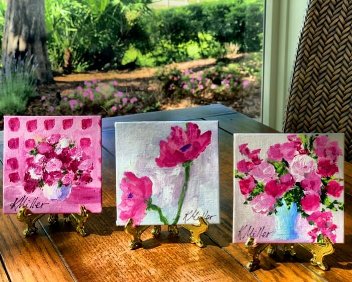 Flower Trio 4x4 painting by Kathy Miller