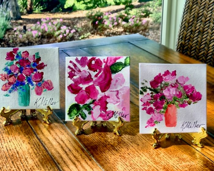 Flowers ala trois paintings by Kathy Miller