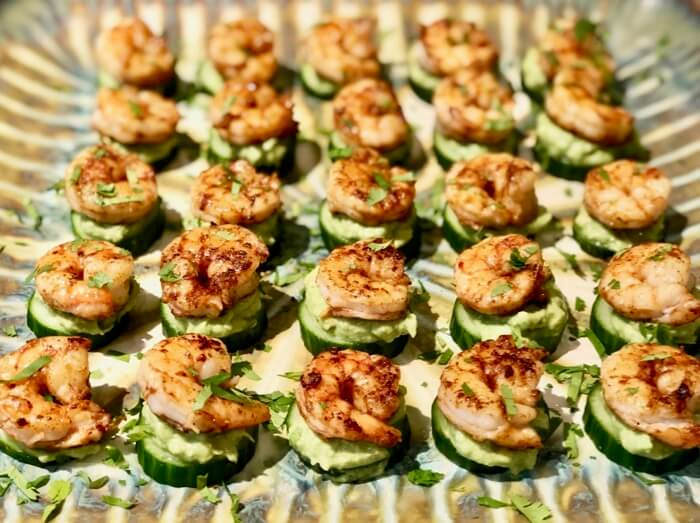 Shrimp with Cucumber and Guacamole photo by Kathy Miller