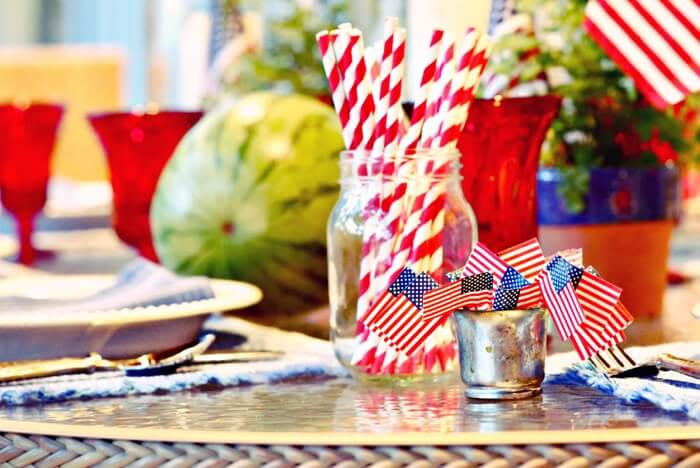 4th of July table with watermelon and flags