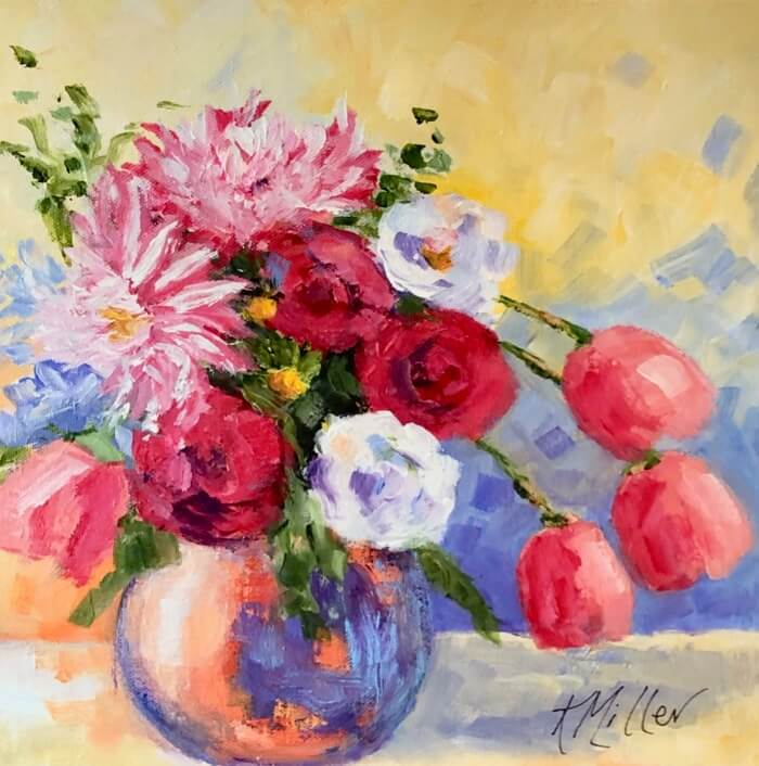 "Dahlias and Tulips original painting by Kathy Miller 12""x12"" Acrylic on Canvas"
