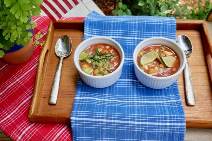 Kathy's Spicy Gazpacho with Avocado and Corn photo by Kathy Miller