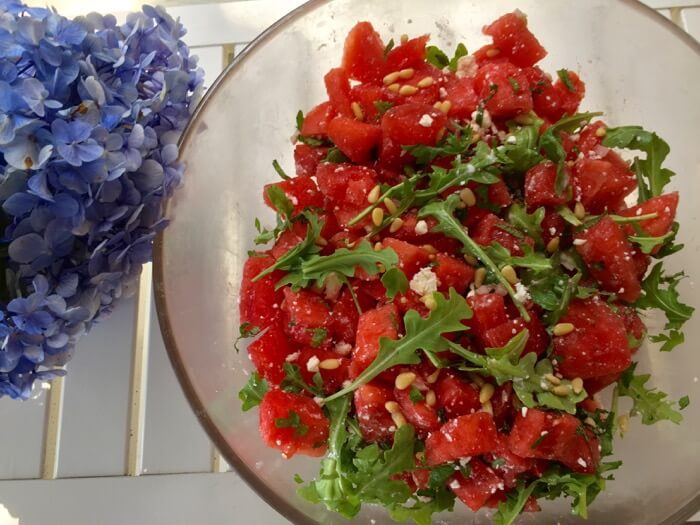 Watermelon Salad with feta and arugula photo by Kathy Miller