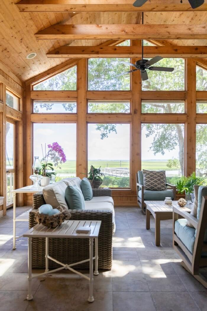 Screened porch with views to the marsh and intracoastal photo by Lynn Tennille