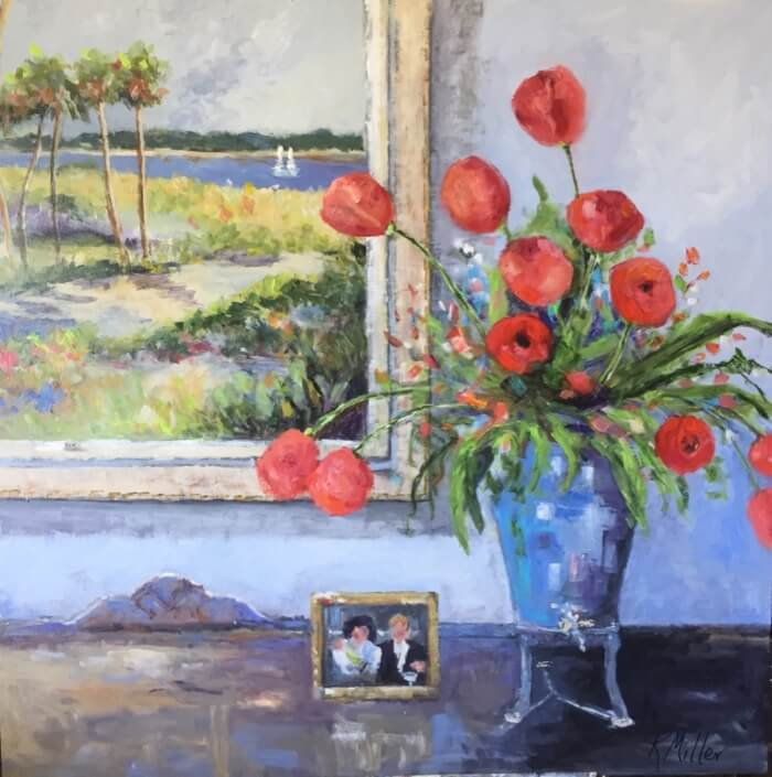 Tulips in Grandmother's Samovar painting by Kathy Miller
