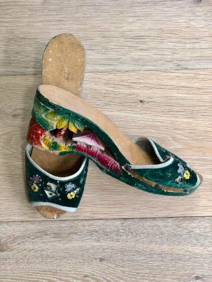 Embroidered wooden shoes from The Philippines WWII era photo by Kathy Miller