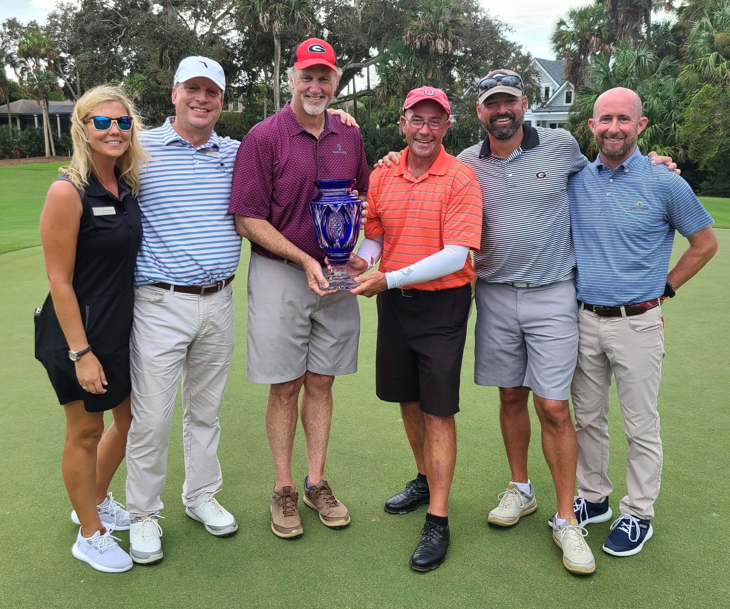 2020 Men's Member Member winners receiving the Mike Joyce Trophy