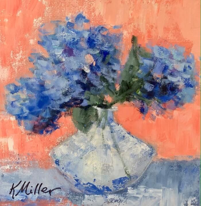 Hydrangeas in petite vase original painting by Kathy Miller