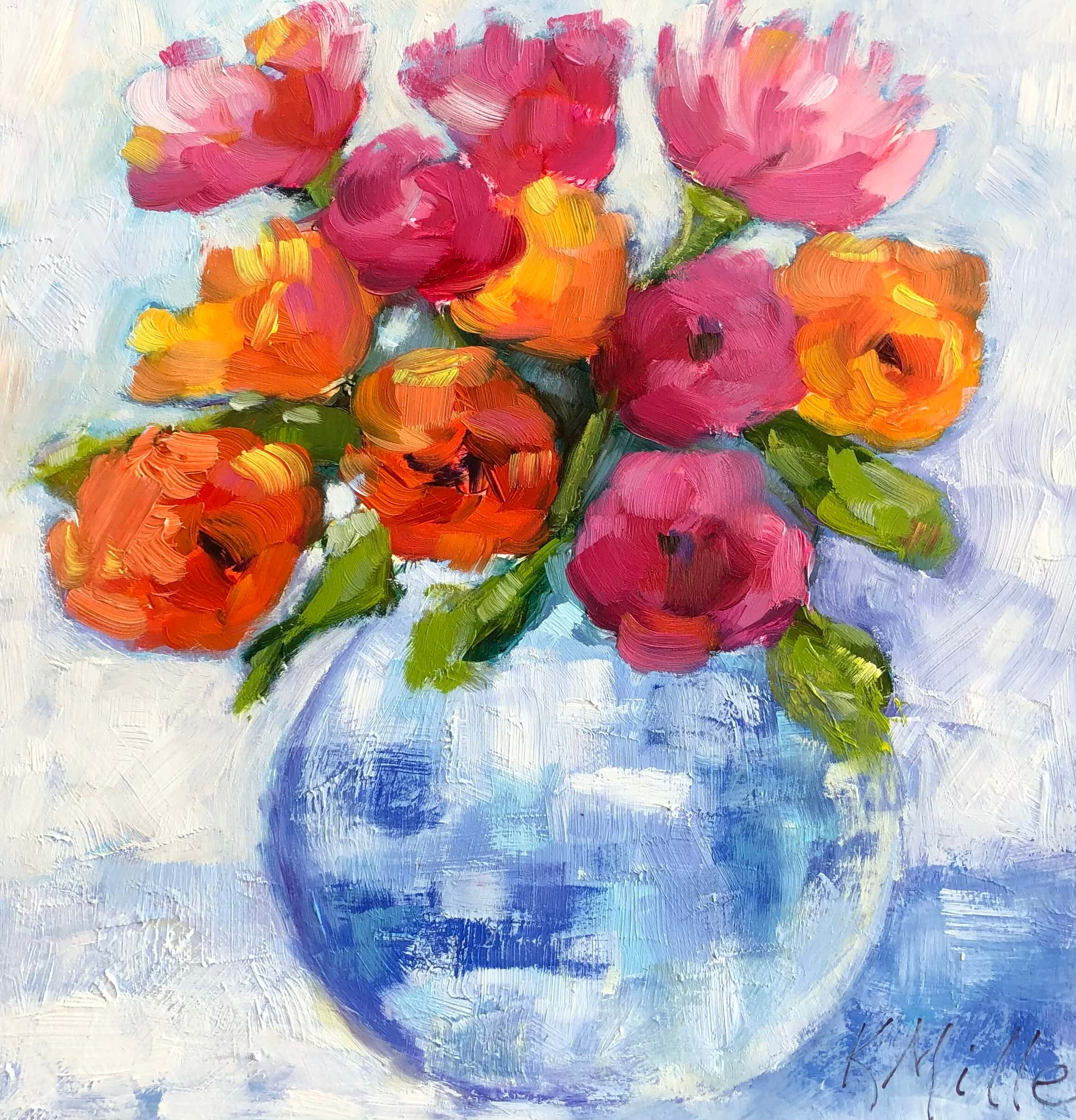 Flowers in Blue and White Vase original oil on museum panel by Kathy Miller