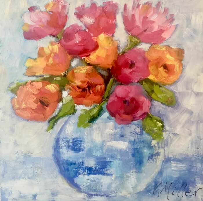 Flowers in Blue and White Vase original painting by Kathy Miller