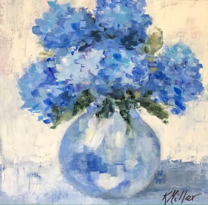 Hydrangeas in vase original painting by Kathy Miller