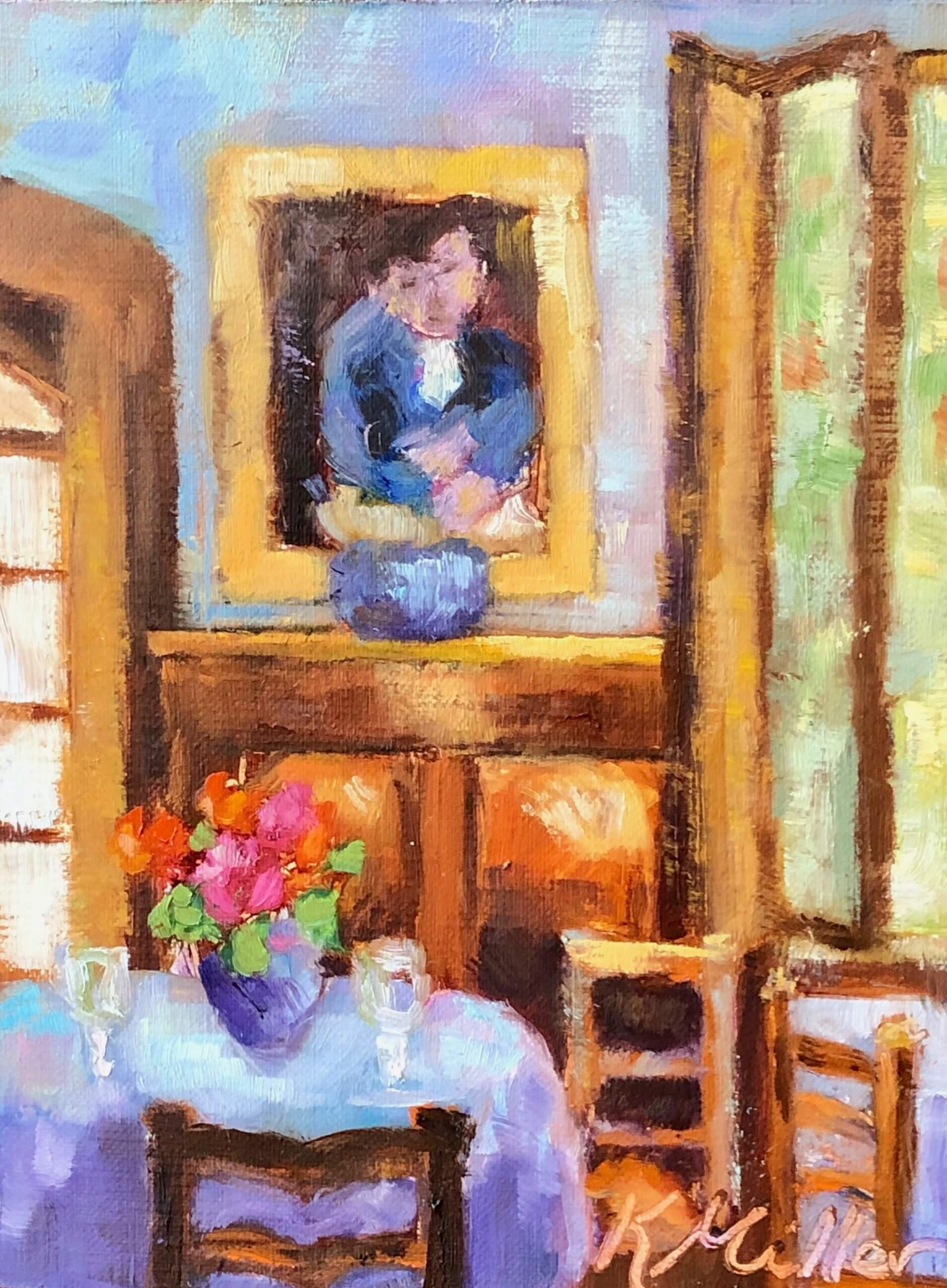Lunch in Provence original oil painting by Kathy Miller