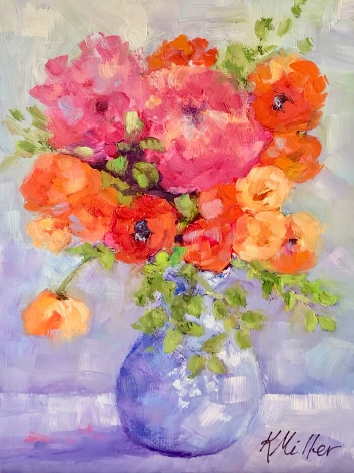 Petite Vase with Flowers original painting by Kathy Miller