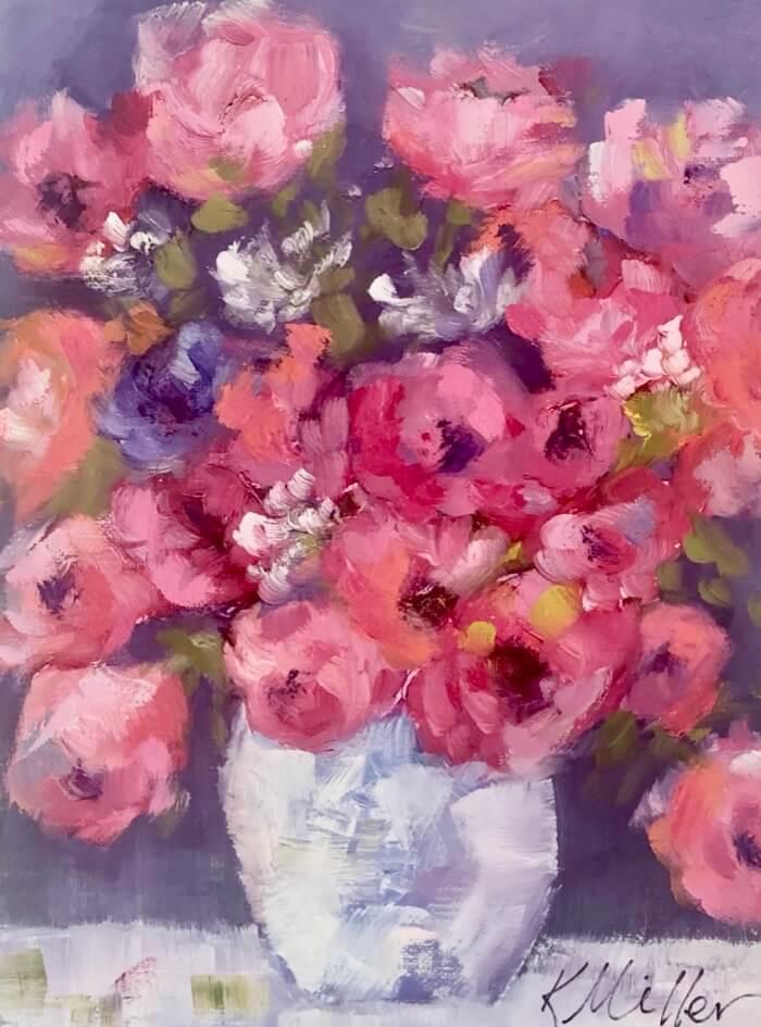 Pink Flowers in Vase original painting by Kathy Miller
