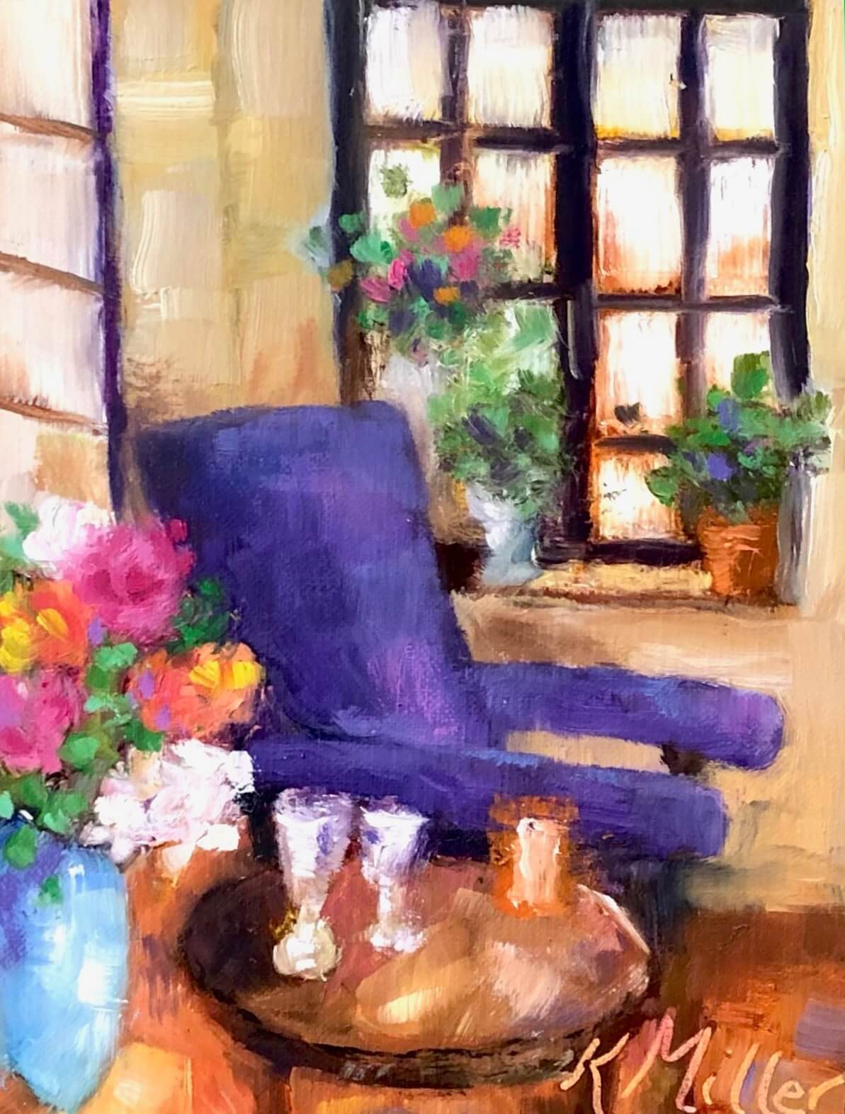Purple chair in French Orangery original painting by Kathy Miller