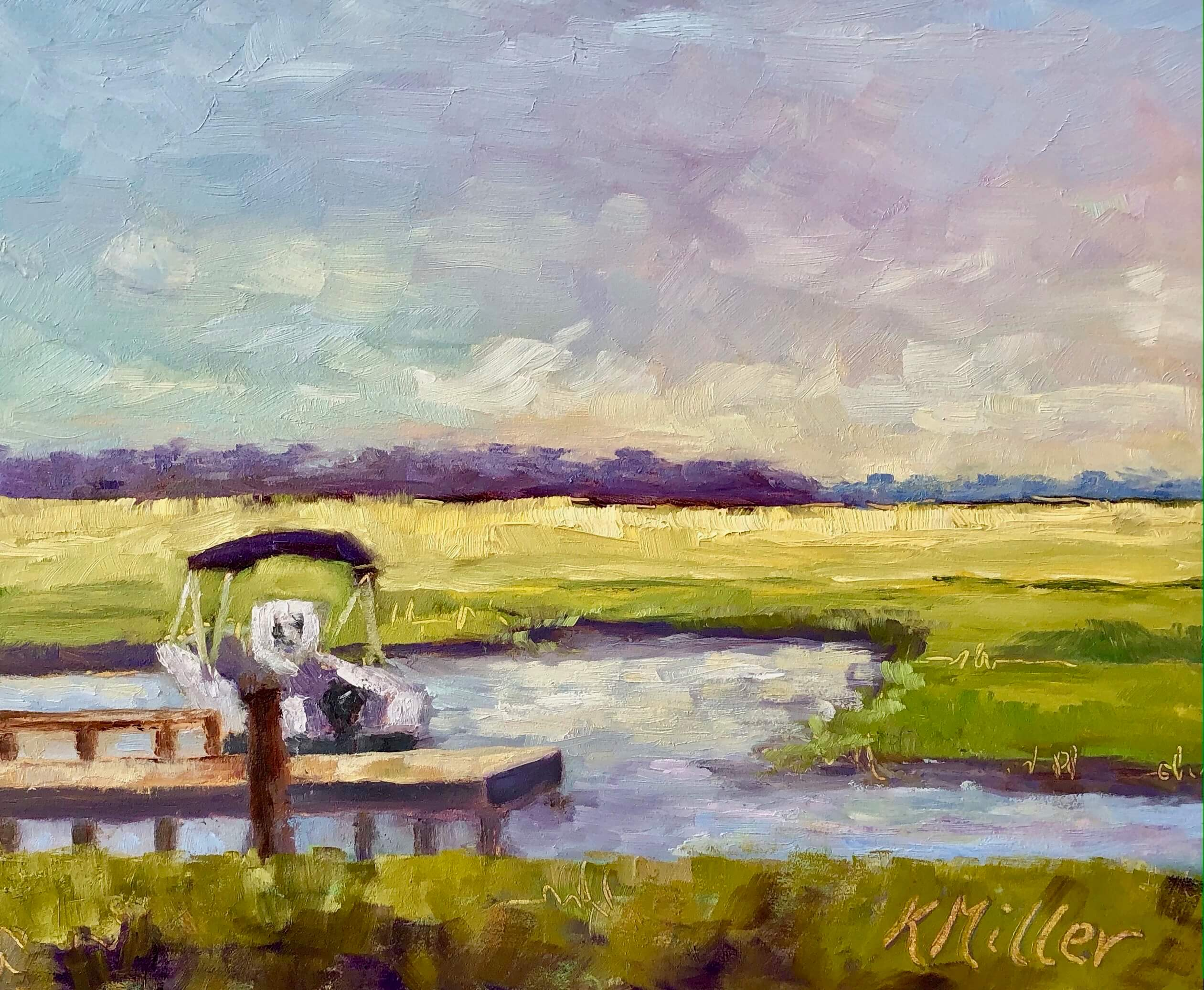 """Marsh Sunrise 8""""x10"""" oil on museum quality panel original painting by Kathy Miller"""