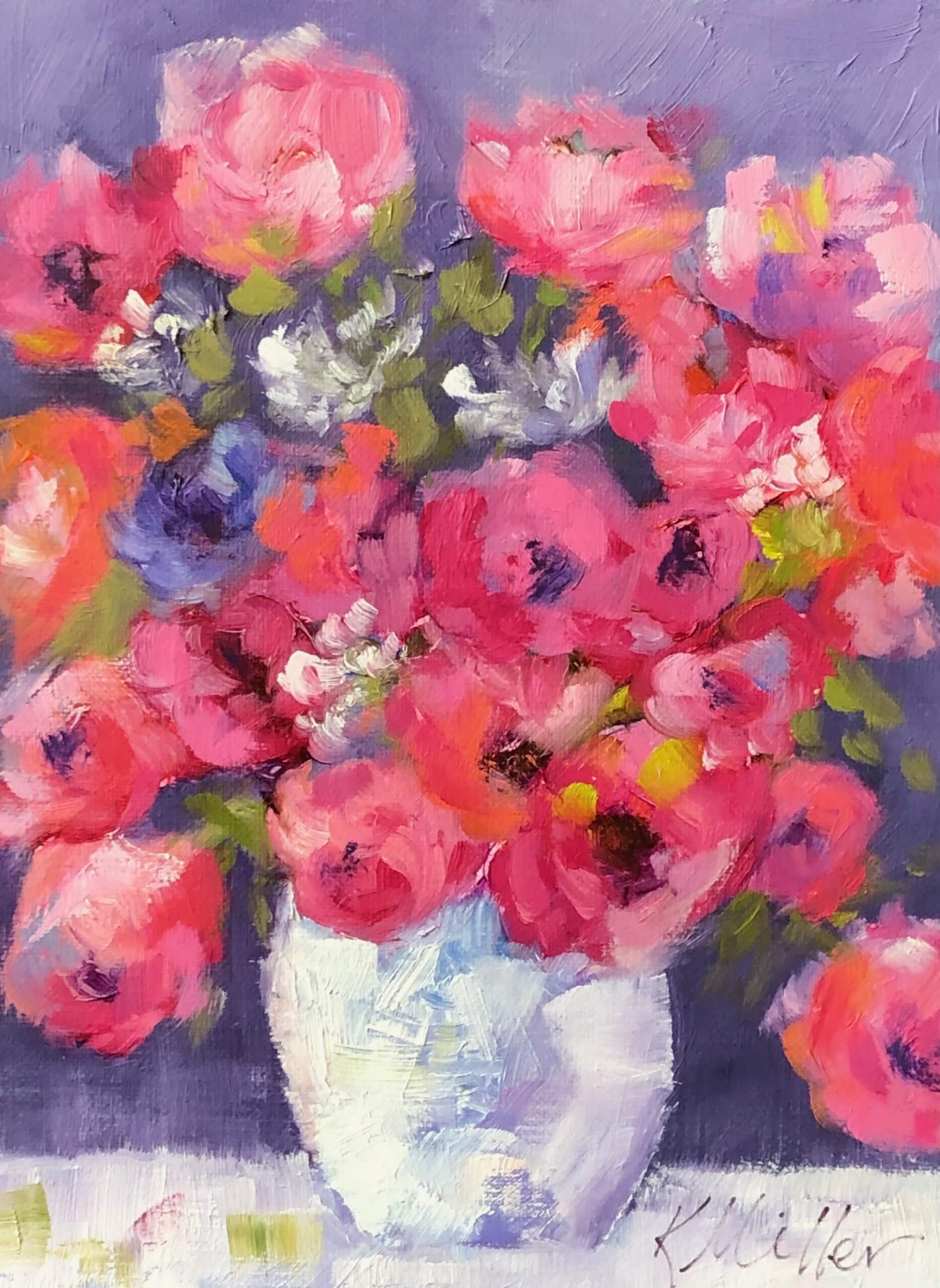 "Pink flowers, 6""x8"" original oil painting by Kathy Miller"