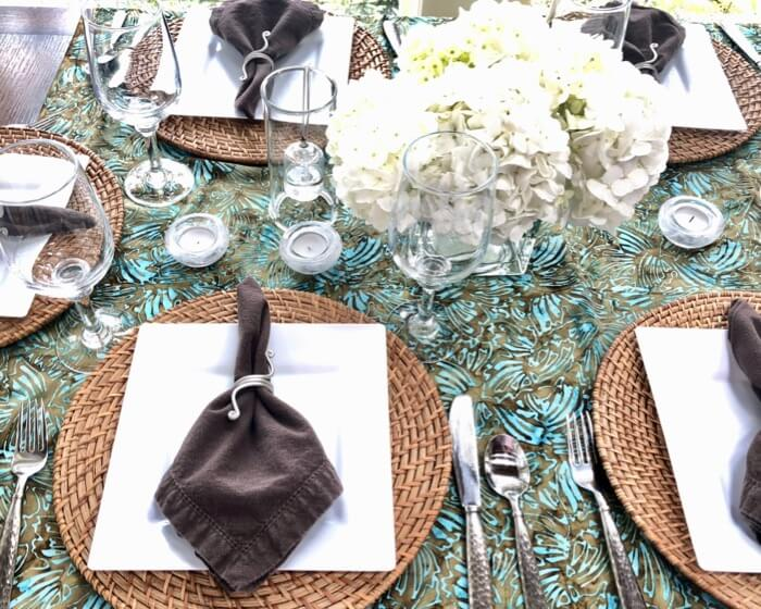 Batik shawl or wrap used as tablecloth photo by Kathy Miller