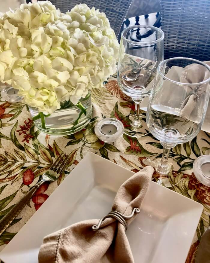 Flora tablecloth table setting photo by Kathy Miller