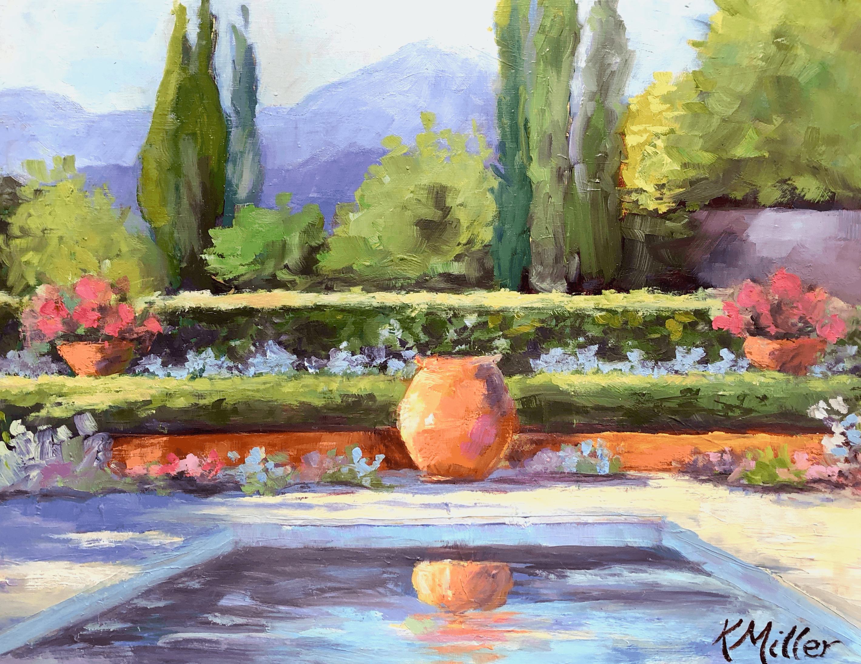 A California garden reminds me of Provence painting by Kathy Miller