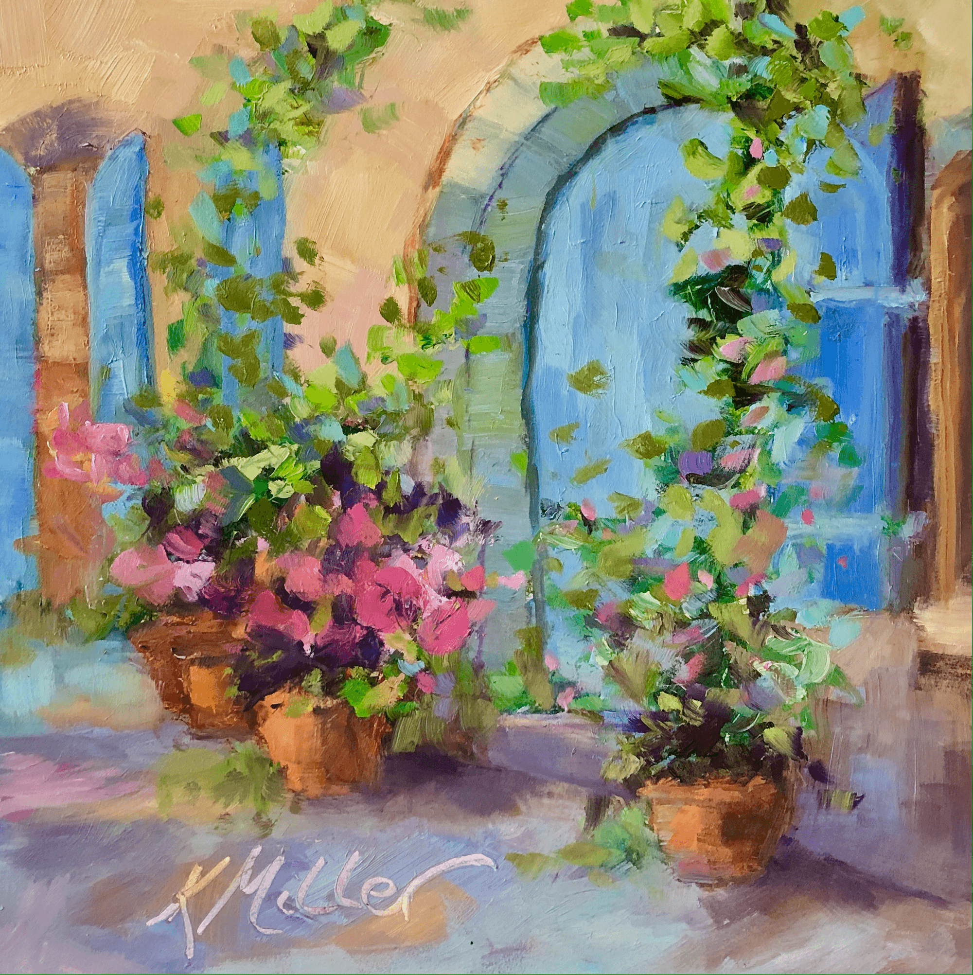 """Blue Doors of Provence 8""""x8"""" oil on museum quality Gesso panel by Kathy Miller"""