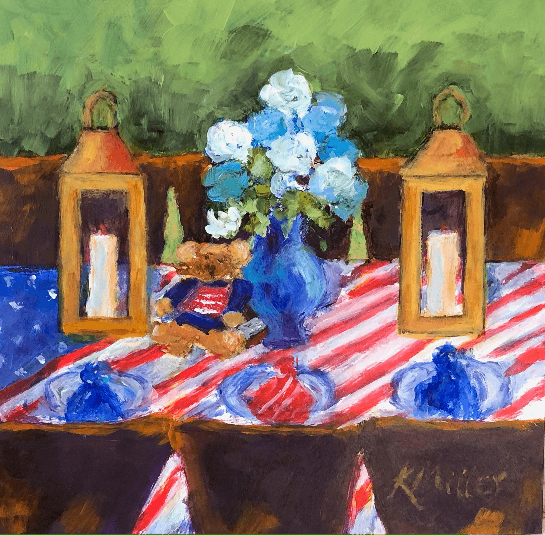 Dining With The Broad Stripes and Bright Stars original acrylic painting by Kathy Miller