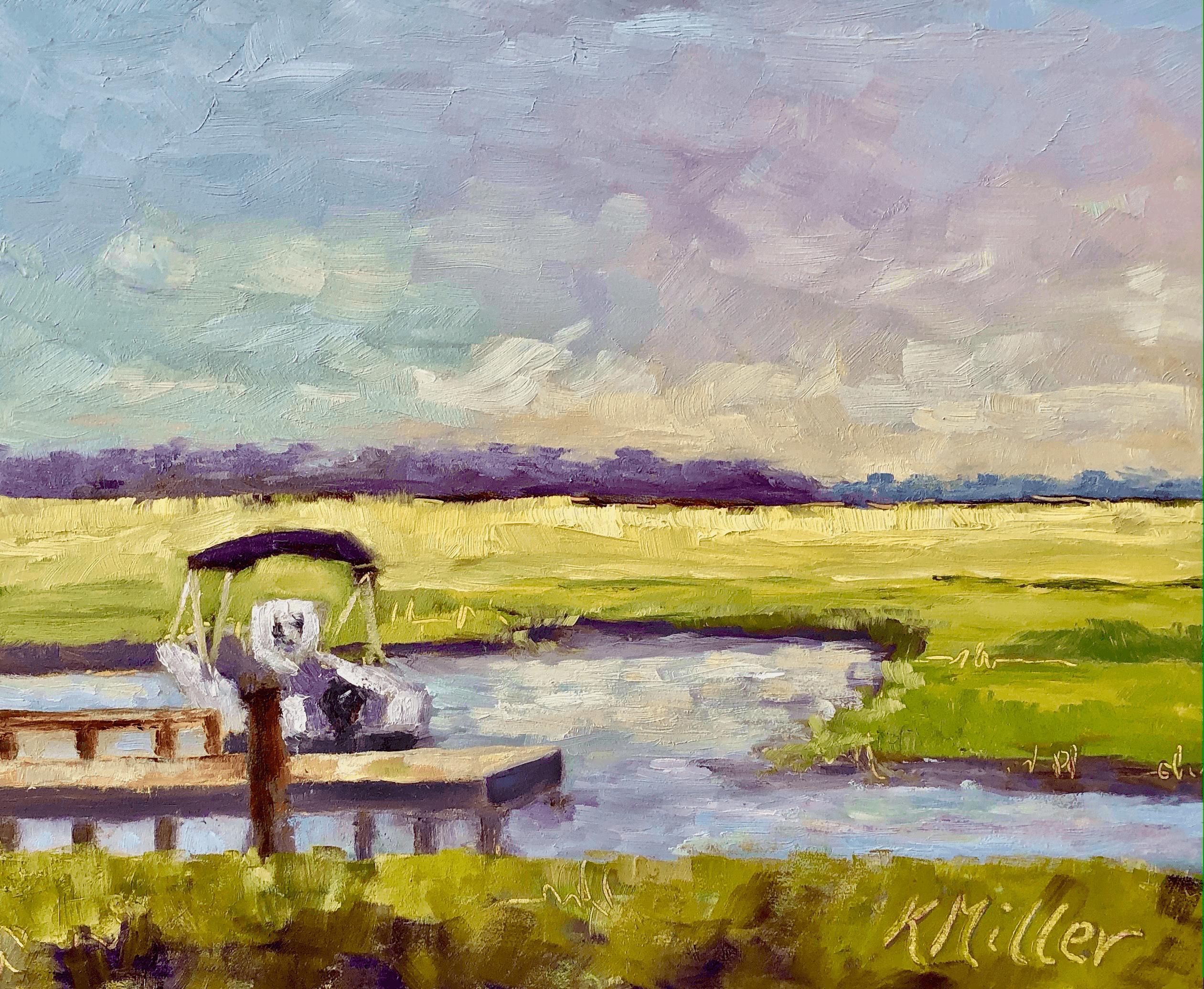 Marsh Sunrise II original oil painting by Kathy Miller
