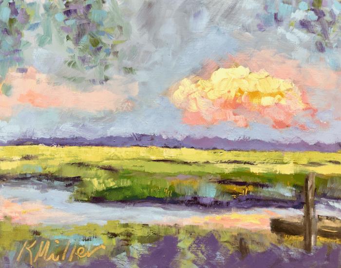 Marsh Sunset original oil on gesso panel by Kathy Miller