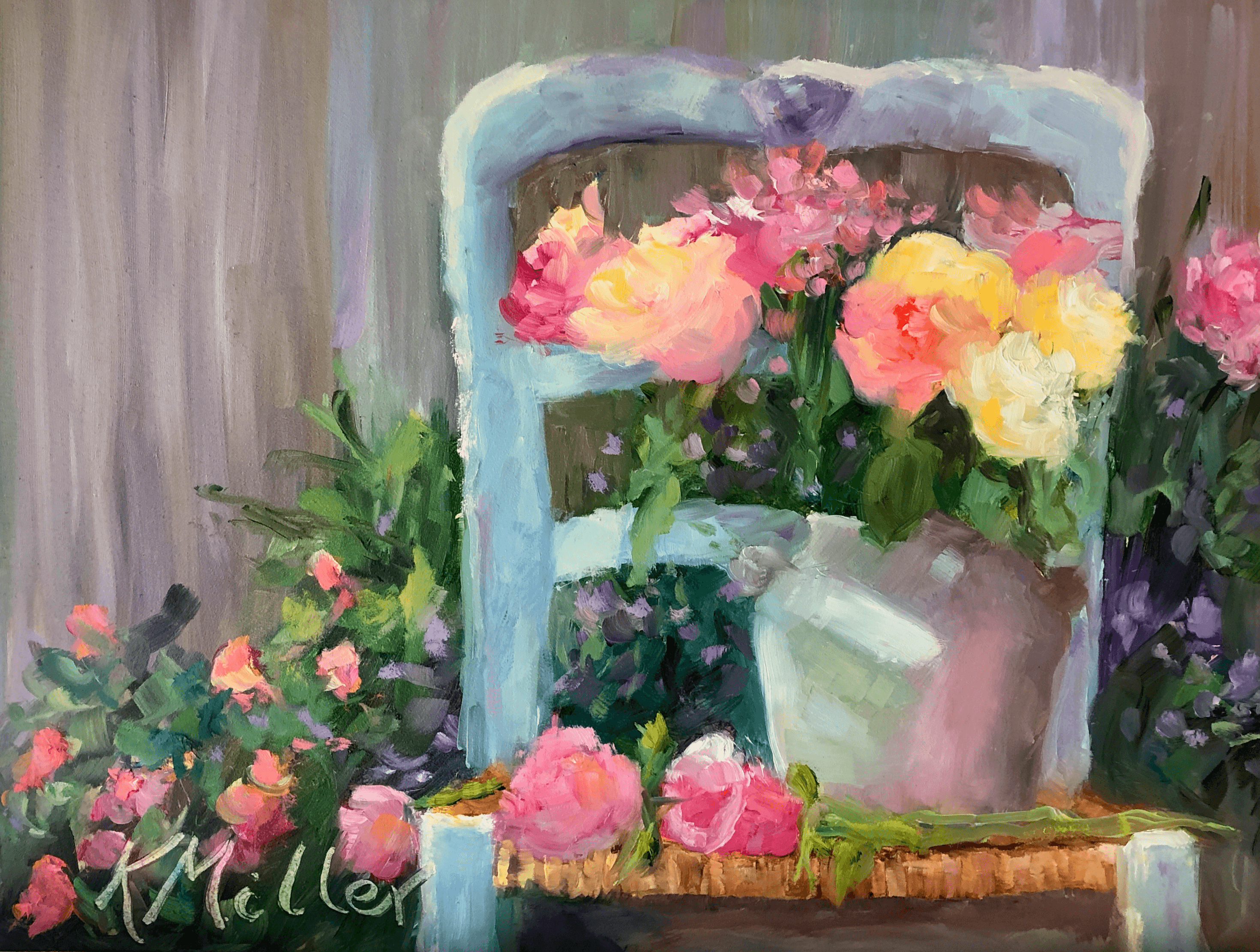 Roses On a Vintage French Chair original painting by Kathy Miller