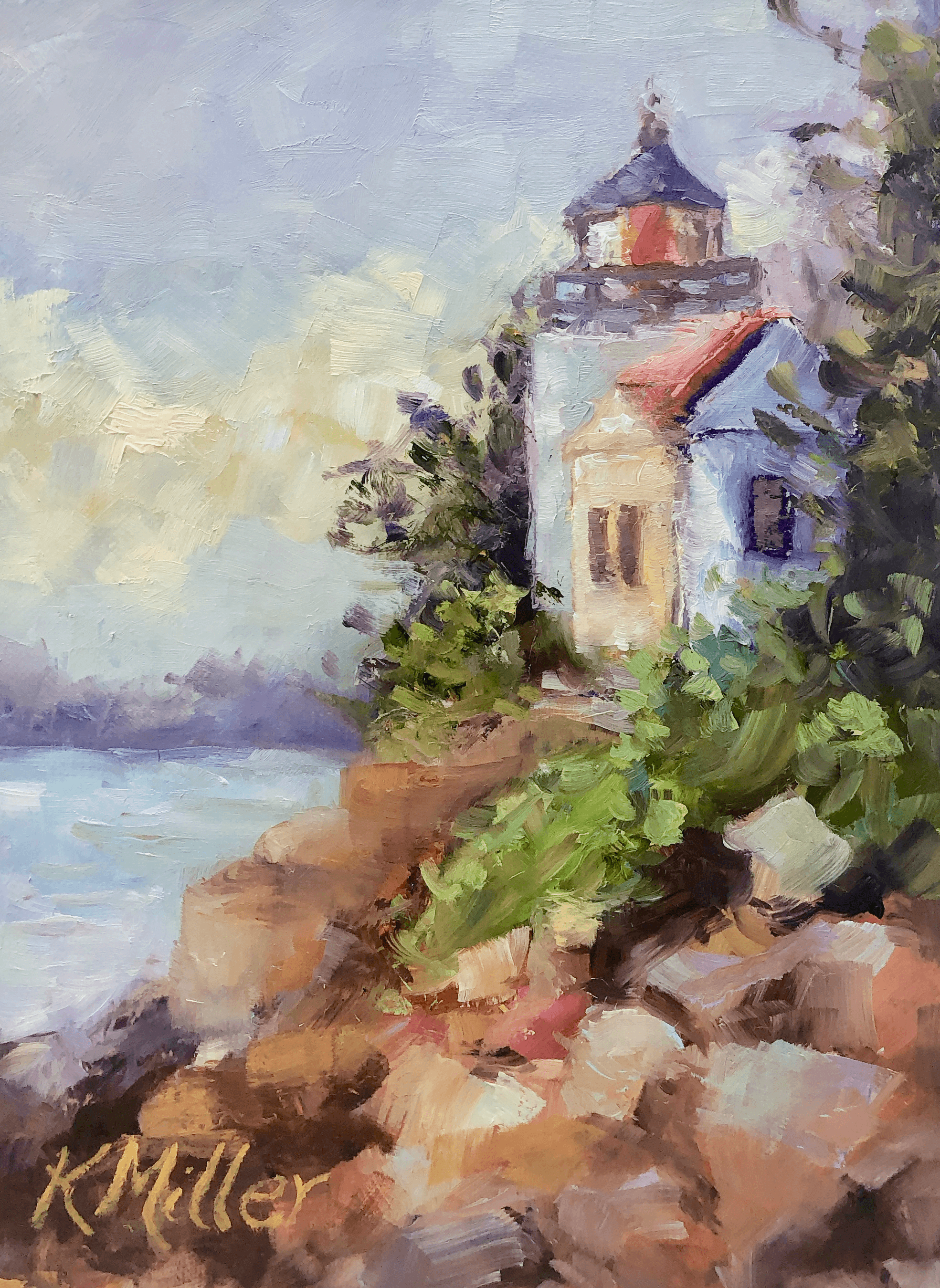 Bass Harbor Head Light Station painting by Kathy Miller