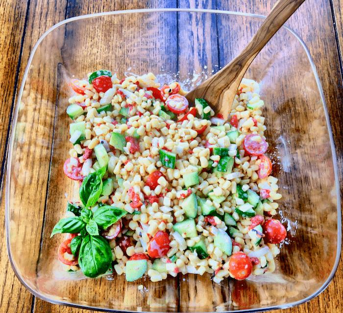Corn, cucumber and tomato salad