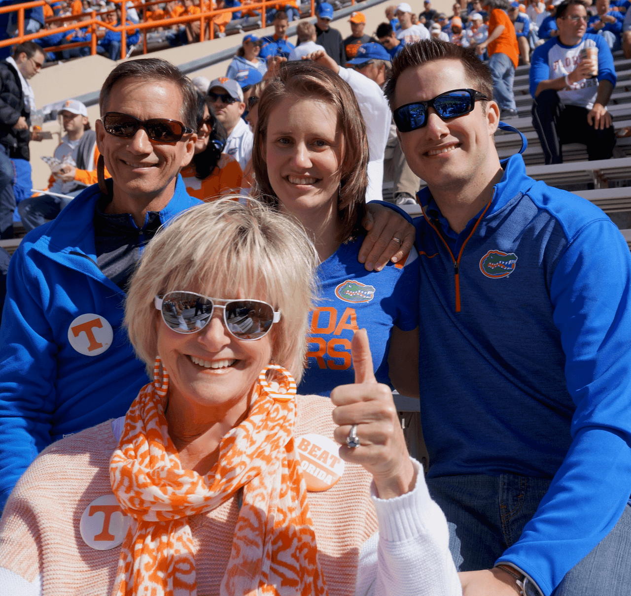 Dave, Lizzy, James and Kathy at Tennessee/ Florida game photo by Kathy Miller