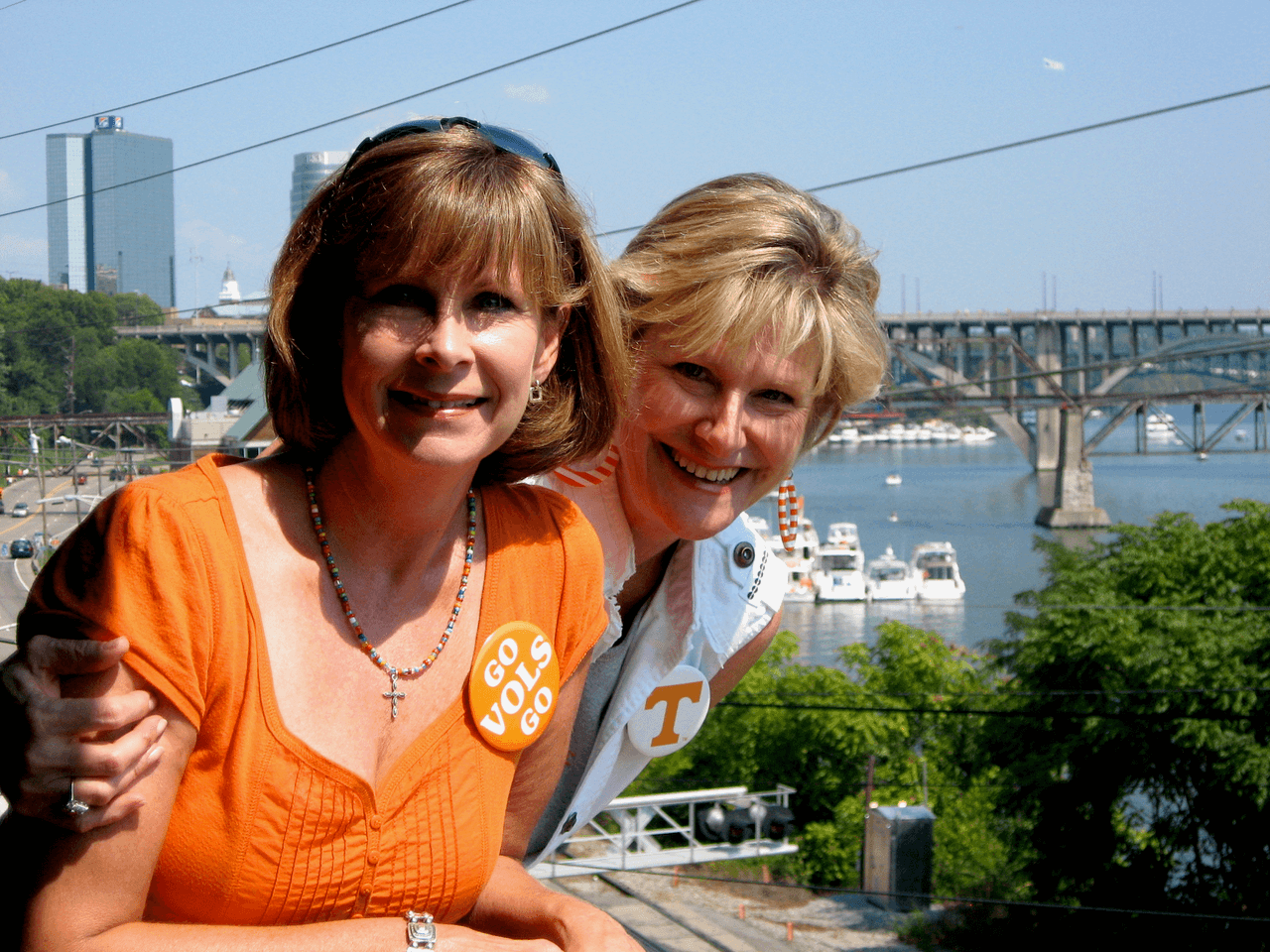 Robin and Kathy with their buttons Tennessee/Florida game photo by Kathy Miller