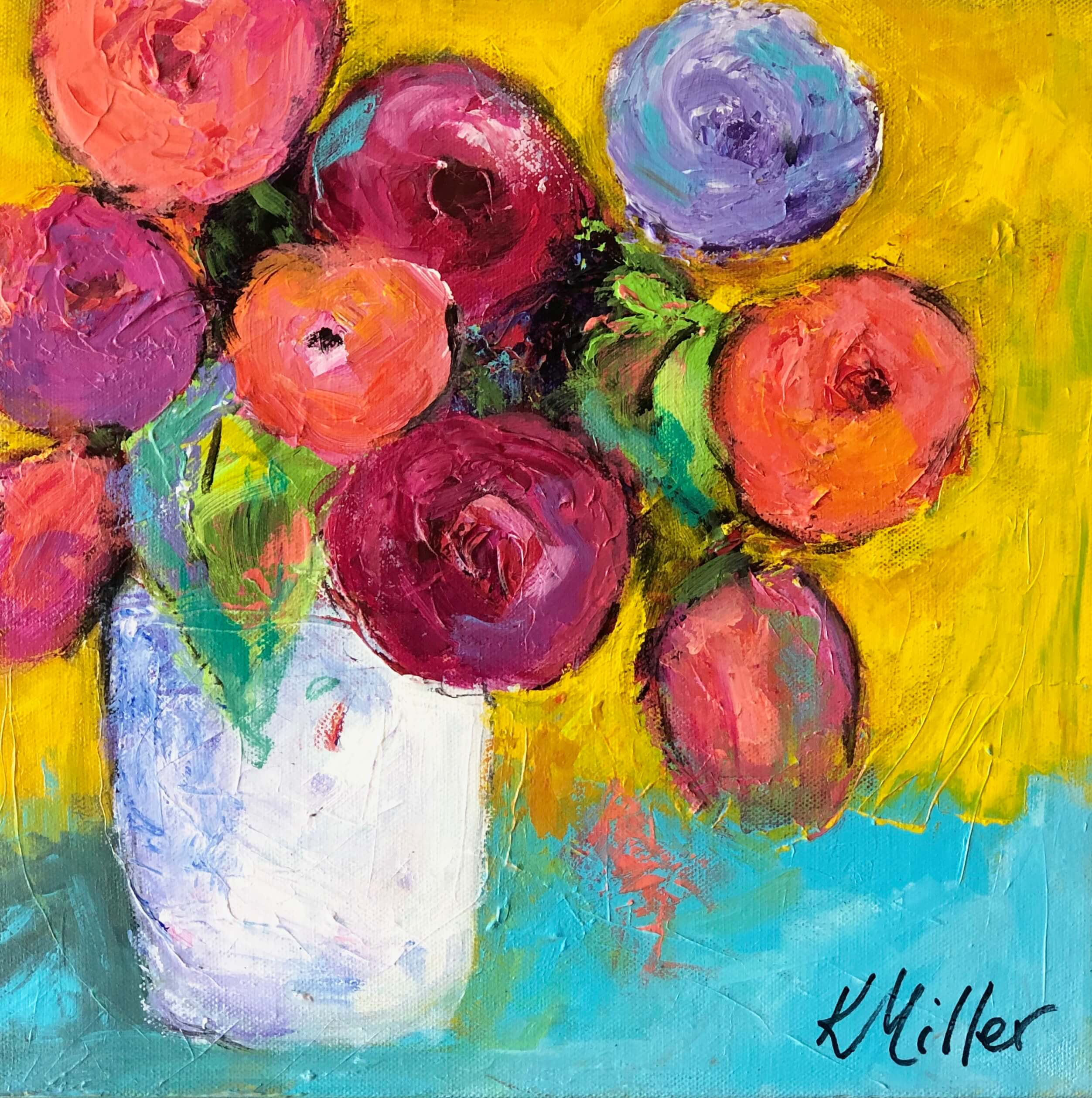 Funky Flowers with yellow and turquoise background painting by Kathy Miller