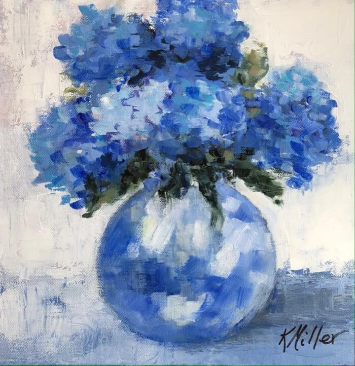 "Hydrangeas 12""x12"" Acrylic on canvas- 1 1/2"" gallery wrapped Original painting by Kathy Miller"