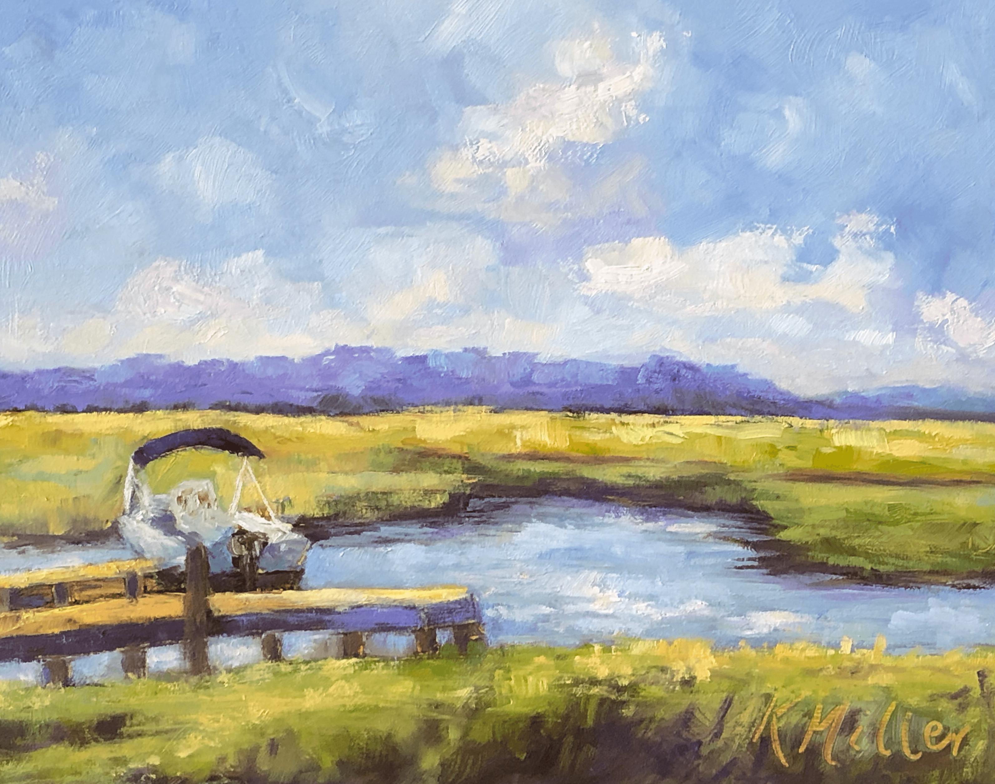 Marsh Sunrise original oil by Kathy Miller