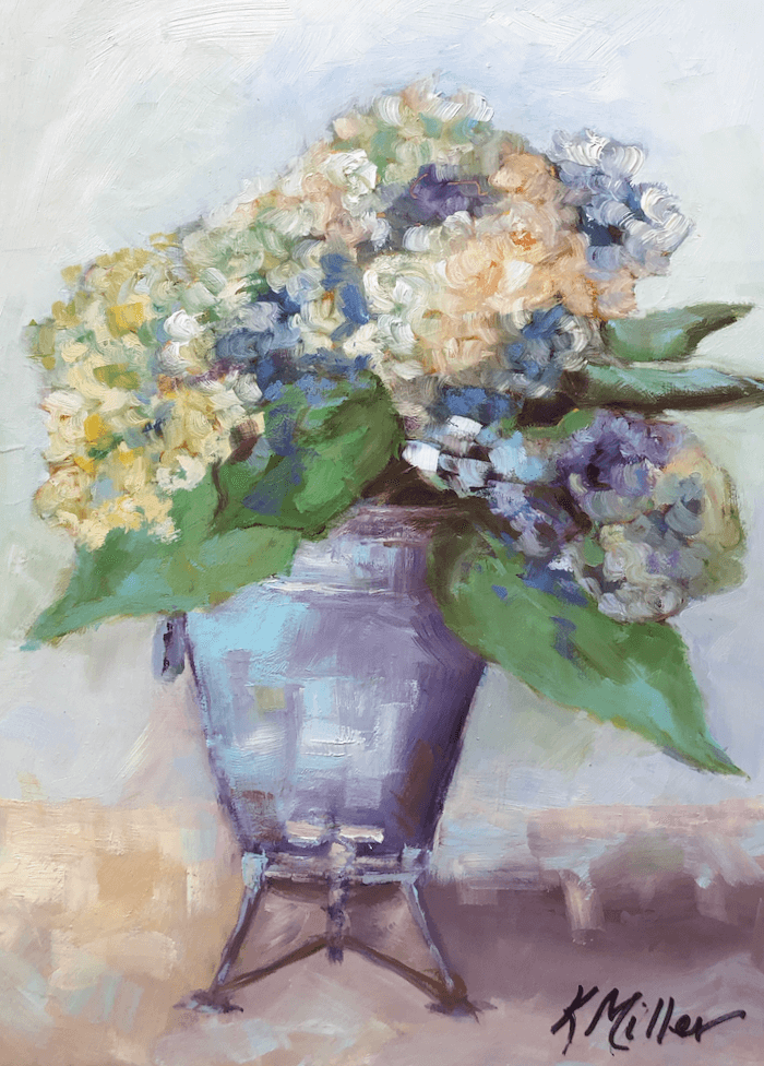 Hydrangeas in Grandmother's Samovar original oil painting by Kathy Miller