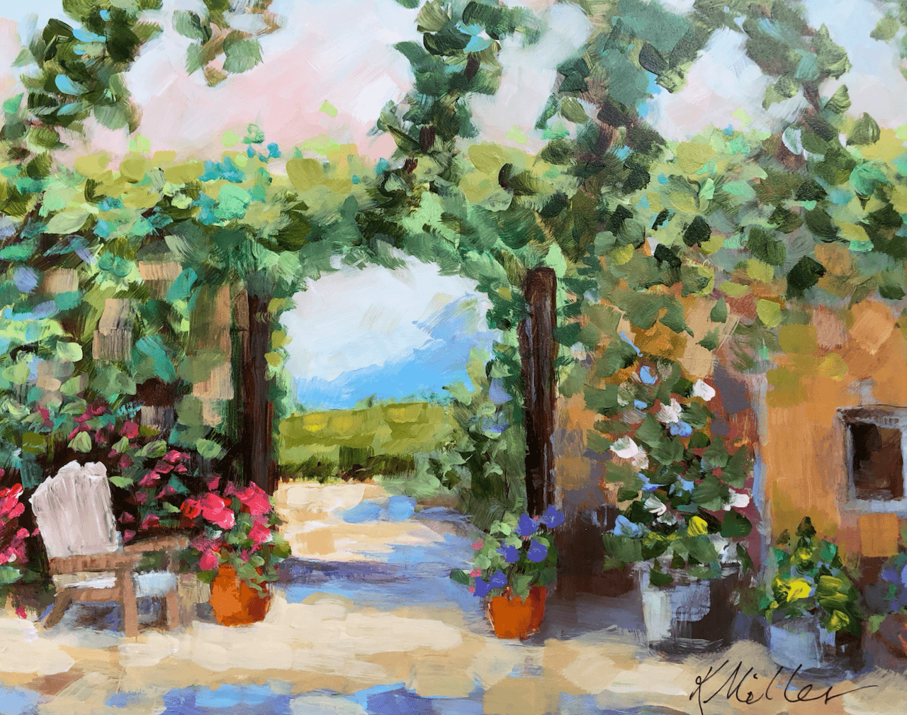 Winery In Provence oil on Gesso Panel by Kathy Miller